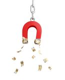 Magnet for the euro money. On the white background Royalty Free Stock Image