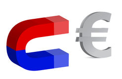 Magnet and euro sign Royalty Free Stock Photo