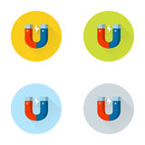 Magnet Flat Icon Set Stock Image
