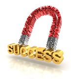 Magnet formed by business words attracting success Royalty Free Stock Photos