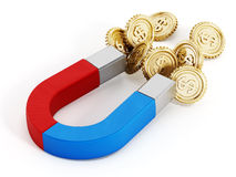 Magnet and gold coins Royalty Free Stock Photo
