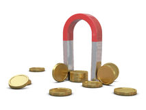 Magnet and golden coins Royalty Free Stock Image