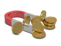 Magnet and golden coins isolated Stock Image