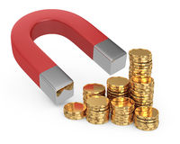 Magnet and golden coins Royalty Free Stock Photo