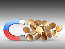 Magnet with golden coins Stock Photography