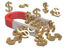 Magnet and golden dollars Stock Photos