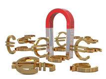 Magnet and golden euros Royalty Free Stock Photography