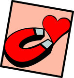 magnet and heart vector illustration Royalty Free Stock Photos