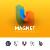 Magnet icon in different style Royalty Free Stock Photos