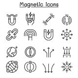 Magnet icon set in thin line style Royalty Free Stock Image