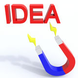 Magnet idea. Magnet for new ideas, creative approach, excellent results Royalty Free Stock Photo
