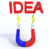 Magnet idea. Magnet for new ideas, creative approach, excellent results Stock Photos