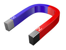Magnet - left. horseshoe magnet isolated over white background Royalty Free Stock Photography