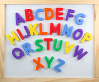 Magnet letters. On white board Royalty Free Stock Photos
