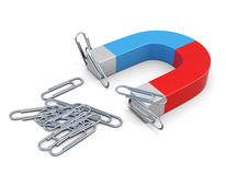 Magnet with magnetized clips. 3d. Royalty Free Stock Photo
