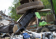 Magnet in Metal Salvage Yard Stock Images