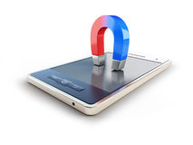 Magnet mobile phone horseshoe Stock Photo