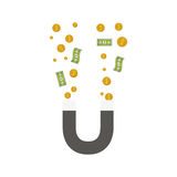 Magnet with money items. Magnet icon with money bills and coins over white background. vector illustration Stock Photography