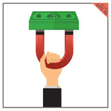 Magnet money set success revenue concept illustration business Royalty Free Stock Image