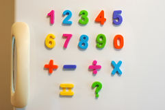 Magnet numbers. On fridge door royalty free stock image