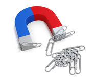 Magnet with paper clips. 3d. Stock Photography