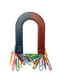 Magnet and paper clips. Magnet and paper clips isolated on a white background Royalty Free Stock Photos