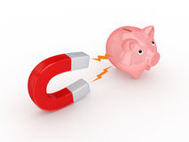 Magnet and pink piggy bank. Royalty Free Stock Photos