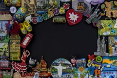 Magnet souvenir from many different countries in the world royalty free stock photos