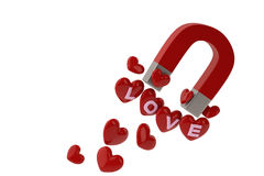 Magnet to attract the red heart and love letters. 3D illustratio Stock Photo