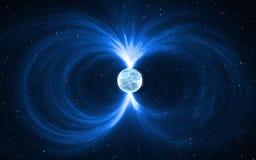 Magnetar - neutronenster in diepe ruimte Voor gebruik met projecten op wetenschap, onderzoek, en onderwijs vector illustratie