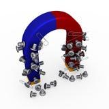 Magnete con i paper-clips e i documento-perni delle viti Fotografia Stock
