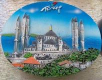 Magnete del ricordo di Costantinopoli con l'immagine della moschea Fotografia Stock Libera da Diritti