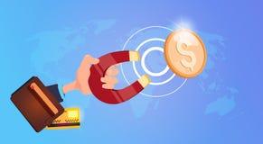 Magnete della tenuta della mano che tira le monete del dollaro verso la borsa dei soldi, riuscita accumulazione di ricchezza che  illustrazione vettoriale