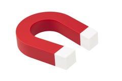 Magnete a ferro di cavallo rosso con il percorso di residuo della potatura meccanica Fotografia Stock