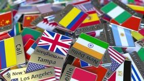 Magnete o distintivo del ricordo con il testo e la bandiera nazionale di Cali fra quei differenti Viaggiando all'introduzione con video d archivio