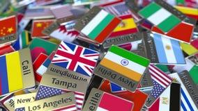 Magnete o distintivo del ricordo con il testo e la bandiera nazionale di Sofia fra quei differenti Viaggiando all'introduzione co archivi video