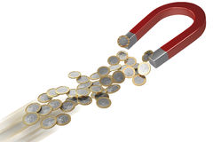 Magnete per soldi nel movimento Fotografia Stock