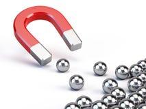 Magneten tilldrar sfärer Royaltyfri Fotografi