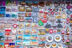 Magneti del ricordo con le viste di Varsavia, Polonia Fotografia Stock