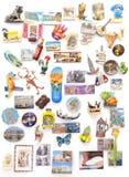 Magneti del ricordo da ogni parte del mondo sul frigorifero Immagini Stock Libere da Diritti