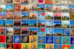 Magneti del ricordo di Costantinopoli con le immagini della moschea Fotografie Stock Libere da Diritti