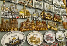 Magneti del ricordo di Costantinopoli con le immagini della moschea Fotografie Stock