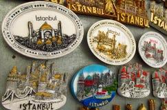 Magneti del ricordo di Costantinopoli con le immagini della moschea Immagini Stock