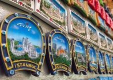 Magneti del ricordo di Costantinopoli con le immagini della moschea Fotografia Stock Libera da Diritti