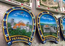 Magneti del ricordo di Costantinopoli con le immagini della moschea Immagine Stock Libera da Diritti