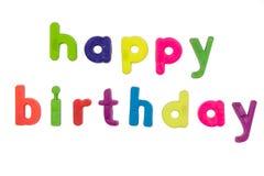 Magnetic alphabet letters - Happy Birthday Stock Photo