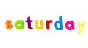 Magnetic alphabet letters - Saturday Stock Image