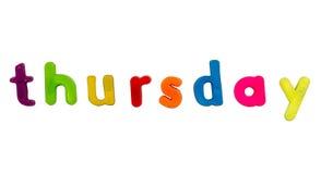 Magnetic alphabet letters - Thursday Stock Photo