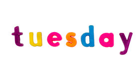 Magnetic alphabet letters - Tuesday Stock Image