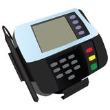 Magnetic card reader. At banks and stores with a sticker. Vector illustration Stock Photography